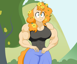 Size: 2110x1747 | Tagged: safe, artist:matchstickman, pear butter, earth pony, anthro, the perfect pear, abs, biceps, breasts, busty pear butter, clothes, female, flower, flower in hair, matchstickman's pear buffer series, muscles, muscular female, pants, pear buffer, scene interpretation, solo, tree