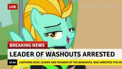 Size: 1280x720 | Tagged: safe, edit, edited screencap, screencap, lightning dust, pegasus, pony, the washouts (episode), arrested, break your own news, breaking news, caption, clothes, description is relevant, funny, image macro, lidded eyes, meme, open mouth, raised eyebrow, reality ensues, smiling, smirk, solo, text, the washouts, uniform, washouts uniform, wings