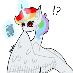 Size: 1000x1000   Tagged: safe, artist:rainbow dash is best pony, oc, oc only, oc:rainbowrio, alicorn, pony, alicorn oc, blushing, discord app, exclamation point, grooming, horn, interrobang, looking at you, magic, phone, preening, question mark, simple background, solo, surprised, transparent background, wings
