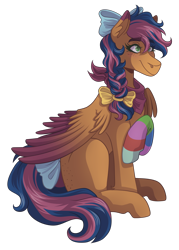 Size: 2500x3500   Tagged: safe, artist:kikirdcz, oc, oc only, oc:solar comet, pegasus, pony, bow, commission, female, hair bow, mare, simple background, sock, solo, tail bow, transparent background