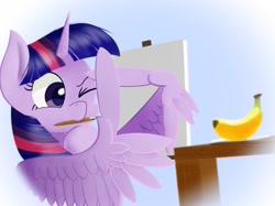 Size: 1979x1484   Tagged: safe, artist:pitybug, twilight sparkle, alicorn, pony, banana, bust, canvas, drawing, easel, feather fingers, female, food, looking at something, mare, measuring, mouth hold, one eye closed, paintbrush, solo, table, three quarter view, twilight sparkle (alicorn), wing hands, wings