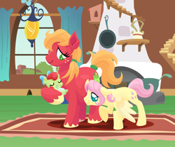 Size: 2700x2260 | Tagged: safe, anonymous artist, big macintosh, fluttershy, oc, oc:forty winks, oc:late riser, earth pony, pegasus, pony, series:fm holidays, april fools, baby, baby pony, big eyes, bow, butterreina, butterscotch, cute, drool, eyes closed, family, female, filly, floppy ears, fluttermac, fluttershy's cottage, hair bow, height difference, holding a pony, hoof sucking, larger female, lineless, listening, macabetes, macareina, male, mare, no pupils, offspring, parent:big macintosh, parent:fluttershy, parents:fluttermac, pregnant, rule 63, shipping, shyabetes, size difference, smaller male, smiling, stallion, straight