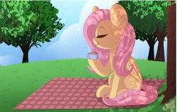 Size: 1474x932   Tagged: safe, artist:sakukitty, fluttershy, pegasus, pony, cup, cute, dappled sunlight, eyes closed, female, food, mare, picnic blanket, profile, shyabetes, sitting, solo, tea, teacup, tree, under the tree