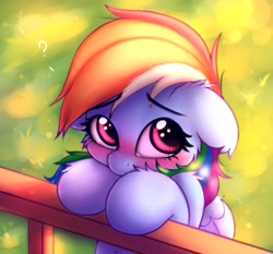 Size: 2048x1907   Tagged: safe, artist:heavymetalbronyyeah, rainbow dash, pegasus, pony, bipedal, bipedal leaning, blushing, cheek fluff, cute, dashabetes, ear fluff, floppy ears, hoof fluff, leaning, looking at you, looking up, question mark, sad, sadorable, shoulder fluff, solo, teary eyes, weapons-grade cute, wing fluff