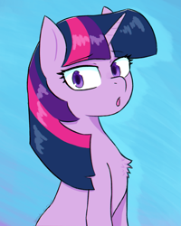 Size: 2259x2829 | Tagged: safe, artist:endo, twilight sparkle, pony, unicorn, chest fluff, looking at you, open mouth, simple background, solo