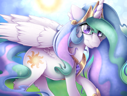 Size: 2224x1668 | Tagged: safe, artist:mychelle, princess celestia, alicorn, pony, crown, cutie mark, ethereal mane, female, glare, hoof shoes, jewelry, looking at you, mare, peytral, regalia, solo, solo female, sun