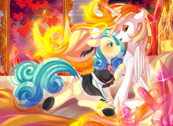 Size: 4696x3414 | Tagged: safe, daybreaker, oc, oc:seven sister, clothes, halo, maid