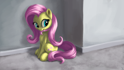 Size: 4000x2250 | Tagged: safe, artist:flusanix, fluttershy, pegasus, pony, biting, cute, female, hair bite, mare, mouth hold, shyabetes, sitting, solo