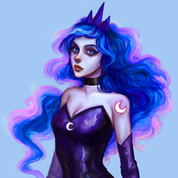 Size: 1794x1794 | Tagged: safe, artist:evivan, princess luna, human, alternative cutie mark placement, bare shoulders, blue background, breasts, cleavage, cutie mark on human, female, humanized, shoulder cutie mark, simple background, sleeveless, solo, strapless