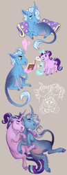 Size: 744x1920 | Tagged: safe, artist:owlcoholik, starlight glimmer, trixie, pony, unicorn, bag, book, female, food, heart, hug, ice cream, lesbian, magic, mare, nuzzling, pillow, shipping, startrix, telekinesis