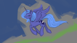 Size: 1920x1080 | Tagged: safe, artist:108fiona8fay, princess luna, alicorn, pony, eyes closed, open mouth, open smile, s1 luna, smiling, solo