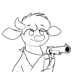 Size: 1024x1024   Tagged: safe, artist:ljdamz1119, arizona (tfh), cow, them's fightin' herds, bandana, clothes, cloven hooves, community related, delet this, female, gun, handgun, hoof hold, monochrome, no color, revolver, scarf, simple background, solo, weapon, white background