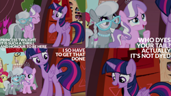 Size: 1280x720 | Tagged: safe, edit, edited screencap, editor:quoterific, screencap, apple bloom, diamond tiara, scootaloo, silver spoon, twilight sparkle, alicorn, earth pony, pony, twilight time, cute, diamondbetes, eyes closed, female, filly, glasses, golden oaks library, mare, offscreen character, open mouth, silverbetes, tail, twilight sparkle (alicorn)