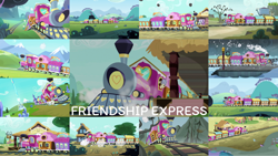 Size: 1280x721 | Tagged: safe, edit, edited screencap, editor:quoterific, screencap, applejack, fluttershy, pinkie pie, rainbow dash, rarity, twilight sparkle, alicorn, pegasus, pony, unicorn, equestria games (episode), games ponies play, maud pie (episode), one bad apple, rock solid friendship, simple ways, surf and/or turf, the crystal empire, the crystalling, the cutie map, the gift of the maud pie, the lost treasure of griffonstone, uncommon bond, bag, female, friendship express, male, mane six, mare, running, saddle bag, stallion, train, train station, twilight sparkle (alicorn)