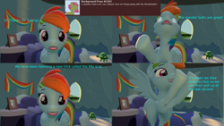 Size: 3840x2160 | Tagged: safe, artist:sexy rd, rainbow dash, pegasus, pony, series:ask sexy rainbow dash, 3d, alternate universe, answer, ask, butt, comic, excited, female, flying, large butt, lipstick, looking at you, mare, plot, rainbow dash's bedroom, rainbow dash's house, rainbutt dash, revamped ponies, room, source filmmaker