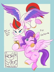Size: 1522x2048 | Tagged: safe, artist:noupu, pipp petals, zipp storm, pegasus, pony, g5, abstract background, adorapipp, blushing, cellphone, cute, dialogue, duo, female, flying, mare, one eye closed, phone, photo, selfie, siblings, sisters, smartphone, speech bubble, spread wings, that pony sure does love phones, unshorn fetlocks, wings, wink