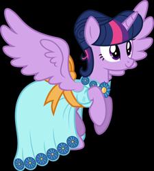 Size: 3500x3892 | Tagged: safe, artist:ambassad0r, twilight sparkle, alicorn, pony, make new friends but keep discord, clothes, dress, female, gala dress, mare, simple background, solo, transparent background, twilight sparkle (alicorn), vector