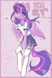 Size: 1671x2500 | Tagged: safe, artist:zefirka, twilight sparkle, alicorn, pony, semi-anthro, blushing, cheek fluff, clothes, commission, cute, looking at you, skirt, socks, solo, stockings, thigh highs, twiabetes, your character here