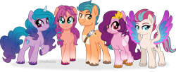 Size: 8592x3500 | Tagged: safe, artist:limedazzle, hitch trailblazer, izzy moonbow, pipp petals, sunny starscout, zipp storm, earth pony, pegasus, pony, unicorn, g5, absurd resolution, adorapipp, adorazipp, braid, cloven hooves, colored wings, cute, cutie mark, female, g5 to g4, generation leap, group, hitchbetes, hoof fluff, izzybetes, looking at you, male, mane five (g5), mare, movie accurate, multicolored wings, raised hoof, simple background, smiling, spread wings, stallion, sunnybetes, transparent background, unshorn fetlocks, wings