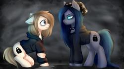 Size: 2920x1642 | Tagged: safe, artist:megabait, oc, oc only, earth pony, pony, bandana, change style, clothes, female, hoodie, spiked bracers
