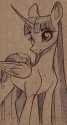 Size: 4119x7688 | Tagged: safe, artist:faline-art, twilight sparkle, alicorn, pony, female, mare, monochrome, pencil drawing, simple background, solo, traditional art, twilight sparkle (alicorn)