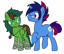 Size: 1623x1367 | Tagged: safe, artist:kb-gamerartist, derpibooru exclusive, oc, oc only, oc:marquis majordome, oc:windy barebow evergreen, pegasus, pony, unicorn, 2021 community collab, derpibooru community collaboration, bandage, bow (weapon), female, glasses, hoof wraps, looking at each other, male, mare, raised hoof, raised leg, simple background, size difference, stallion, transparent background