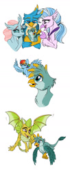 Size: 750x1838 | Tagged: safe, artist:celestial-rainstorm, gallus, ocellus, rainbow dash, silverstream, oc, oc:cinder, oc:gavin, changedling, changeling, classical hippogriff, griffon, hippogriff, pony, offspring, parent:smolder, parent:spike, parents:gabbus, parents:spolder, simple background, white background