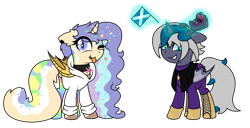 Size: 2421x1242 | Tagged: safe, artist:kb-gamerartist, derpibooru exclusive, tempest shadow, oc, oc only, oc:elizabat stormfeather, oc:mish-mash, alicorn, bat pony, bat pony alicorn, 2021 community collab, derpibooru community collaboration, :p, alicorn oc, amputee, artificial wings, augmented, bat pony oc, bat wings, batgirl, boots, broken horn, canon x oc, cape, clothes, collar, dc comics, duo, ear piercing, earring, eyeshadow, fangs, female, flag, freckles, gloves, glowing horn, grin, hoodie, horn, jewelry, lesbian, levitation, magic, makeup, mare, markings, national flag, one eye closed, piercing, plushie, prosthetic limb, prosthetic wing, prosthetics, rainbow socks, scotland, shipping, shirt, shoes, simple background, smiling, socks, stormshadow, striped socks, t-shirt, telekinesis, tongue out, transparent background, uwu, wings, wink