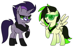 Size: 1102x725 | Tagged: safe, artist:kb-gamerartist, derpibooru exclusive, oc, oc only, oc:lennon black, oc:wave tech, alicorn, cyborg, unicorn, 2021 community collab, derpibooru community collaboration, alicorn oc, bandana, clothes, duo, ear piercing, earring, female, glasses, horn, jewelry, male, mare, piercing, scarf, simple background, socks, stallion, sunglasses, transparent background, wings