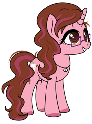 Size: 771x1036 | Tagged: safe, artist:kb-gamerartist, derpibooru exclusive, oc, oc only, oc:opacity, pony, unicorn, 2021 community collab, derpibooru community collaboration, female, freckles, glasses, grin, jewelry, mare, necklace, simple background, smiling, solo, transparent background