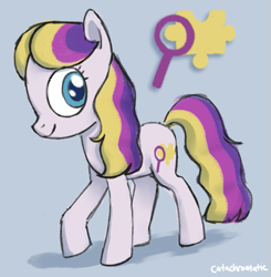 Size: 863x879 | Tagged: safe, artist:catachromatic, derpibooru exclusive, puzzlemint, earth pony, pony, g3, alternate hairstyle, colored pupils, colored sketch, cutie mark, g3 to g4, generation leap, redesign, signature, simple background, solo