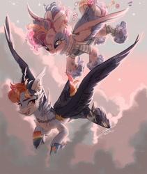 Size: 2433x2888 | Tagged: safe, artist:sannateacupss, pinkie pie, rainbow dash, pegasus, pony, cheek feathers, duo, feathered fetlocks, female, flying, hoof fluff, mare, pegasus pinkie pie, race swap, sunrise