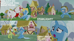 Size: 1280x720 | Tagged: safe, edit, edited screencap, editor:quoterific, screencap, bulk biceps, granny smith, trixie, earth pony, pegasus, unicorn, all bottled up, angry, female, male, mare, open mouth, red eyes, stallion