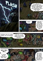 Size: 2408x3400 | Tagged: safe, artist:tarkron, oc, changeling, diamond dog, hybrid, undead, comic:fusing the fusions, comic:time of the fusions, bag, clock, clothes, comic, commissioner:bigonionbean, contract, crown, cutie mark, dialogue, eyepatch, female, friendship express, horn, jewelry, jewels, lightning, male, military, negotiating, officer, rain, regalia, saddle bag, stallion, storm, train, train station, treasure, treasure chest, wings, writer:bigonionbean