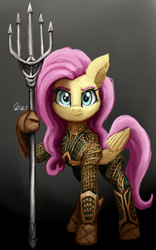 Size: 1600x2560 | Tagged: safe, artist:raphaeldavid, fluttershy, pegasus, pony, adventurer, aquaman, badass, crossover, dc comics, dc extended universe, female, flutterbadass, folded wings, full face view, hoof hold, looking at you, mare, quindent, raised hoof, serious, solo, standing, superhero, superhero costume, trident, wings, zack snyder's justice league