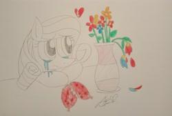 Size: 3878x2601 | Tagged: safe, artist:muhammad yunus, oc, oc only, oc:annisa trihapsari, earth pony, pony, crying, earth pony oc, female, flower, heartbreak, mare, sad, solo, traditional art