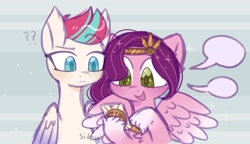 Size: 1988x1147 | Tagged: safe, artist:sidruni, pipp petals, zipp storm, pegasus, pony, g5, cellphone, chest fluff, confused, duo, female, green eyes, hoof fluff, looking down, mare, open mouth, phone, question mark, siblings, sisters, smartphone, speech bubble, spread wings, that pony sure does love phones, wings
