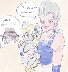 Size: 918x976 | Tagged: safe, artist:mimiporcellini, derpy hooves, human, pegasus, pony, crossover, dialogue, hol horse, holding a pony, jean pierre polnareff, jojo's bizarre adventure