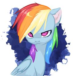 Size: 1191x1247 | Tagged: safe, artist:megabait, rainbow dash, pegasus, pony, eyes, female, serious, simple background, sketch, solo, stare