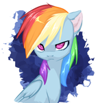 Size: 1191x1247 | Tagged: safe, artist:megabait, rainbow dash, pegasus, pony, eye, eyes, female, serious, simple background, sketch, solo, stare