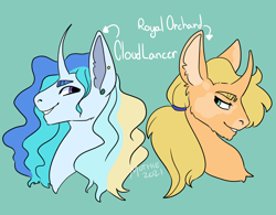 Size: 3000x2345 | Tagged: safe, artist:cryptidmothie, oc, oc:cloudlancer, oc:royal orchard, pony, unicorn, brothers, bust, half-siblings, male, offspring, parent:applejack, parent:prince blueblood, parent:rainbow dash, parents:bluedash, parents:bluejack, siblings