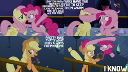 Size: 1280x720 | Tagged: safe, edit, edited screencap, editor:quoterific, screencap, applejack, fluttershy, pinkie pie, earth pony, pegasus, pony, party pooped, applejack's hat, cartoon physics, cowboy hat, dialogue, female, hat, mare, pinkie being pinkie, pinkie physics, trio, twilight's castle