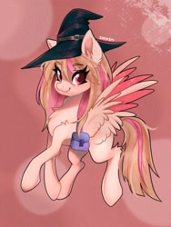 Size: 1536x2048 | Tagged: safe, artist:siripim111, oc, oc only, pegasus, pony, bag, chest fluff, flying, hat, looking at you, saddle bag, smiling, solo, spread wings, wings, witch hat