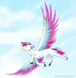 Size: 2586x2640 | Tagged: safe, artist:gaelledragons, zipp storm, pegasus, pony, g5, chest fluff, cloud, colored wings, ear fluff, feather, female, floppy ears, flying, high res, hoof fluff, majestic, mare, multicolored wings, sky, solo, spread wings, unshorn fetlocks, wings