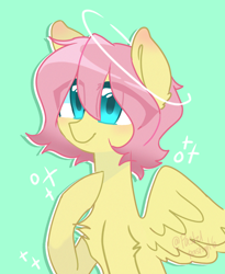 Size: 1230x1499 | Tagged: safe, artist:galactiaaa, fluttershy, pegasus, pony, alternate hairstyle, bust, chest fluff, female, halo, hoof on chest, looking at you, mare, portrait, raised hoof, short mane, smiling, solo, sparkles, spread wings, three quarter view, wings