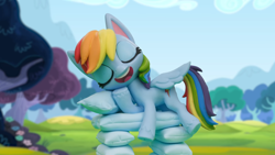 Size: 1920x1080 | Tagged: safe, screencap, rainbow dash, pony, my little pony: pony life, my little pony: stop motion short, pillow fight (short), pony life, pillow, solo, stop motion
