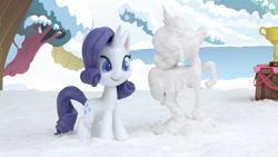 Size: 1920x1080 | Tagged: safe, screencap, rarity, pony, my little pony: pony life, my little pony: stop motion short, pony life, snow pony contest (short), snowpony, solo, stop motion