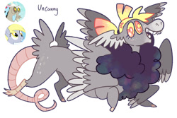 Size: 1280x853 | Tagged: safe, artist:babypaste, derpy hooves, discord, oc, oc:uncanny, draconequus, butt wings, derpcord, draconequus oc, female, interspecies offspring, male, multiple wings, offspring, parent:derpy hooves, parent:discord, parents:derpcord, shipping, simple background, straight, white background, wings