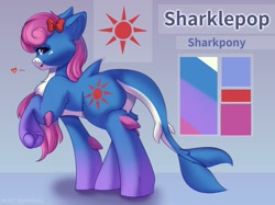 Size: 2048x1535   Tagged: safe, artist:alphadesu, original species, pony, shark, shark pony, abstract background, bow, butt, cheek fluff, chest fluff, commission, cutie mark, ear fluff, female, fins, floppy ears, hair bow, heart, hoof fluff, leg fluff, lidded eyes, looking at you, looking back, mare, plot, raised hoof, reference sheet, shoulder fluff, smiling, solo, underhoof