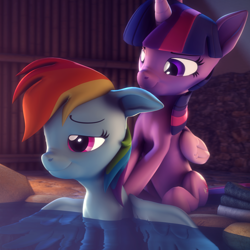 Size: 2160x2160 | Tagged: safe, artist:psfmer, rainbow dash, twilight sparkle, alicorn, pegasus, pony, 3d, female, lesbian, massage, partially submerged, pleasure, shipping, sitting, source filmmaker, spa, spread wings, swimming pool, towel, twidash, twilight sparkle (alicorn), water, wings